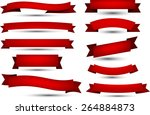 set of red banners and ribbons. ... | Shutterstock .eps vector #264884873