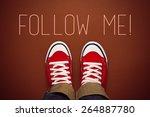 top view of follow me request... | Shutterstock . vector #264887780