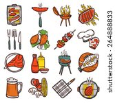 bbq grill colored decorative... | Shutterstock .eps vector #264888833