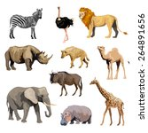 wild african animals set with... | Shutterstock .eps vector #264891656