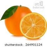 vector of fresh ripe oranges... | Shutterstock .eps vector #264901124