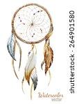 dream catcher  watercolor... | Shutterstock .eps vector #264901580
