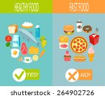 healthy food and fast food ... | Shutterstock .eps vector #264902726