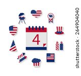 icons set usa flag color... | Shutterstock .eps vector #264904040