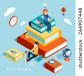 read books concept. education... | Shutterstock .eps vector #264907448