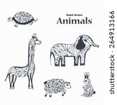 sketch black and white animals | Shutterstock . vector #264913166