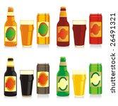 isolated different beer bottles ... | Shutterstock .eps vector #26491321