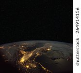 Northern  Italy At Night From...