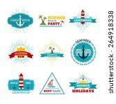 vector set of summer design... | Shutterstock .eps vector #264918338