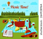 picnic time poster with... | Shutterstock .eps vector #264928964