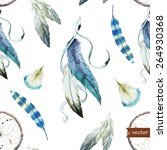dreamcatcher  boho  watercolor  ... | Shutterstock .eps vector #264930368