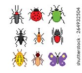 insect pixel icons set. old... | Shutterstock .eps vector #264932504