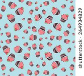 cupcake retro fabric   colorful ... | Shutterstock .eps vector #264934829