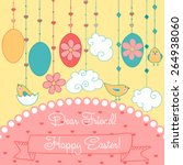 vector happy easter  card for... | Shutterstock .eps vector #264938060