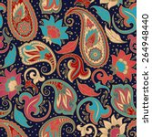 paisley seamless ethnic... | Shutterstock .eps vector #264948440
