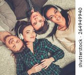happy multiracial friends...   Shutterstock . vector #264949940