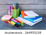 Colorful stationery on wooden...
