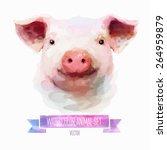 vector set of animals. pig hand ... | Shutterstock .eps vector #264959879