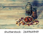 raisins and dates on wooden...   Shutterstock . vector #264964949