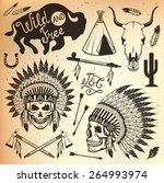 wild west sets. indian chief... | Shutterstock .eps vector #264993974