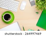 office table with coffee cup ... | Shutterstock . vector #264997469