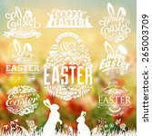 vintage easter typographical... | Shutterstock .eps vector #265003709