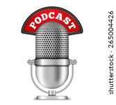 microphone with podcast banner  ... | Shutterstock .eps vector #265004426