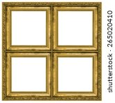 Small photo of Golden quadruple frame isolated on pure white background