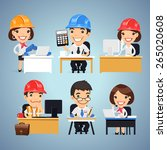 engineers cartoon characters at ... | Shutterstock .eps vector #265020608