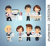 managers cartoon characters at... | Shutterstock .eps vector #265020638