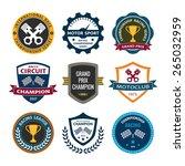 car racing emblems badges vector | Shutterstock .eps vector #265032959