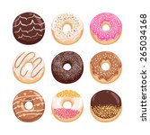 yummy donuts collection vector... | Shutterstock .eps vector #265034168