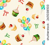 seamless  watercolor pattern of ... | Shutterstock .eps vector #265038503