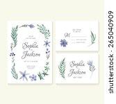 unique gentle vector wedding... | Shutterstock .eps vector #265040909