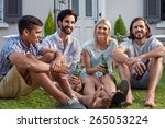 happy smiling diverse group of... | Shutterstock . vector #265053224