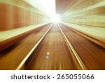 railroad blurred with zoom | Shutterstock . vector #265055066
