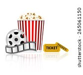 popcorn  film tape and tickets | Shutterstock .eps vector #265061150
