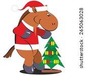 Cartoon Horse With A Christmas...