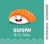 vector sushi cartoon character... | Shutterstock .eps vector #265064660