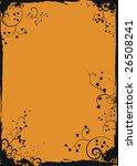 grunge orange floral frame   Shutterstock .eps vector #26508241