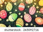 easter eggs on fresh green... | Shutterstock . vector #265092716
