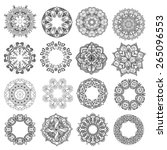 set of round ornaments. lace... | Shutterstock .eps vector #265096553