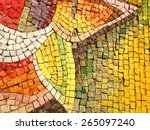 colorful old stone mosaic on... | Shutterstock . vector #265097240