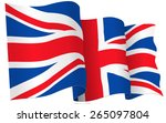 uk british flag waving   vector ... | Shutterstock .eps vector #265097804