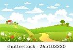 the road in green fields... | Shutterstock .eps vector #265103330
