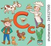Alphabet. Letter C. Cat. Carro...