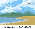 sea landscape with mountains ... | Shutterstock .eps vector #265142888