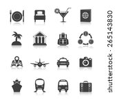 travel icon set black with... | Shutterstock .eps vector #265143830