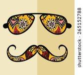 retro hipster sunglasses.... | Shutterstock .eps vector #265152788