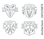 surfing badges and icons in... | Shutterstock .eps vector #265153874